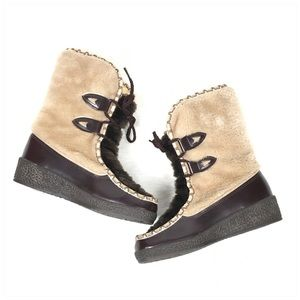 Vintage SNOWLAND Fur Winter Lace Up Boots Size 7